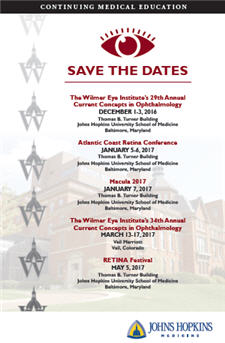 The Wilmer Eye Institute's 34th Annual Current Concepts in Ophthalmology Banner