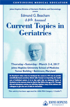 Edmund G. Beacham 44th Annual Current Topics in Geriatrics Banner