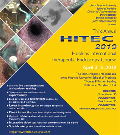 Third Annual HITEC: Hopkins International Therapeutic Endoscopy Course Banner
