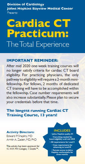 Johns Hopkins Cardiac CT Practicum: The Total Experience - March 23-27 2020 Banner